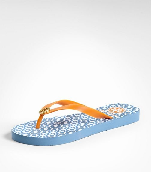 Tory Burch Flip Flops- stylish and good quality. I have a pair in pink and  the print held up all summer. Love the fun gold logo!