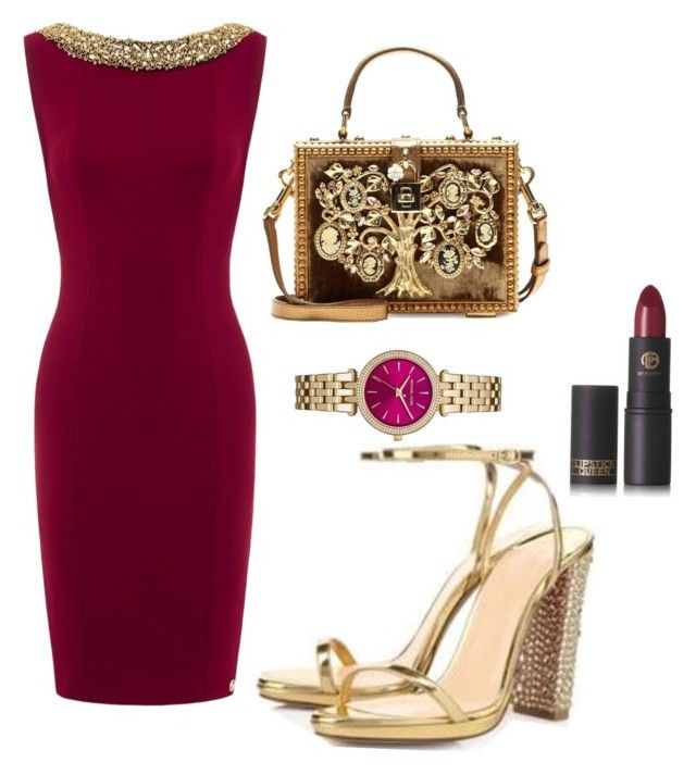 """gold bordeux"" by msirenefaith on Polyvore featuring Lipstick Queen, Dolce&Gabbana and MICHAEL Michael Kors"
