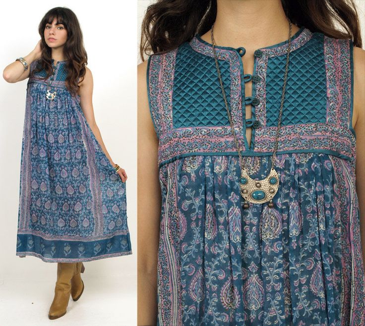 70's INDIAN Florals Ethnic Cotton Print Hippie Boho Midi Dress S/M