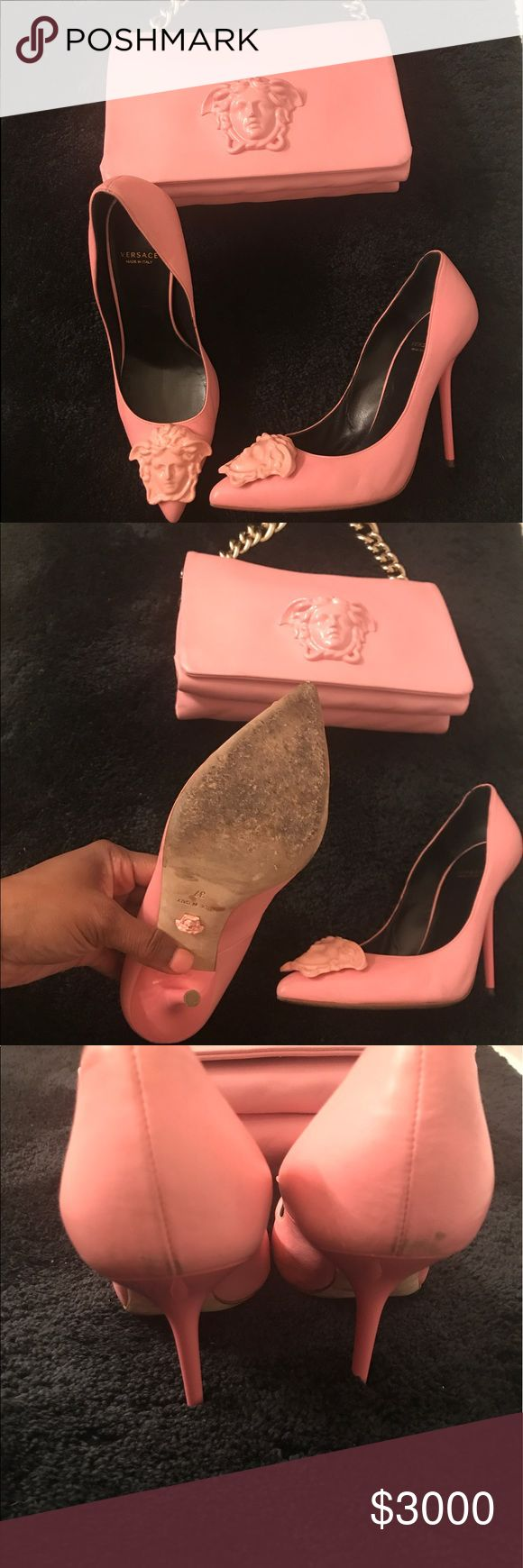 Versace limited edition medusa pink leather set! This is a limited edition VERSACE set. This set is 100% soft leather and SOLD OUT COMPLETELY WORLD WIDE. It's a must have. These items were worn 3-4 times. This set must be sold together! $2000 via 🅿️🅿️ or cash app Versace Bags Mini Bags