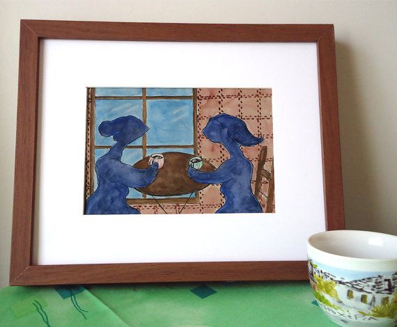 Original watercolour, fantasy painting, OOAK, best friends, coffee shop,14,5x21