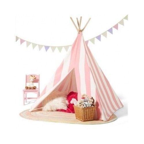 Pink-Teepee-Tent-Girls-Bedroom-Playroom-Children-Kids-Playhouse-Pretend-Indoors