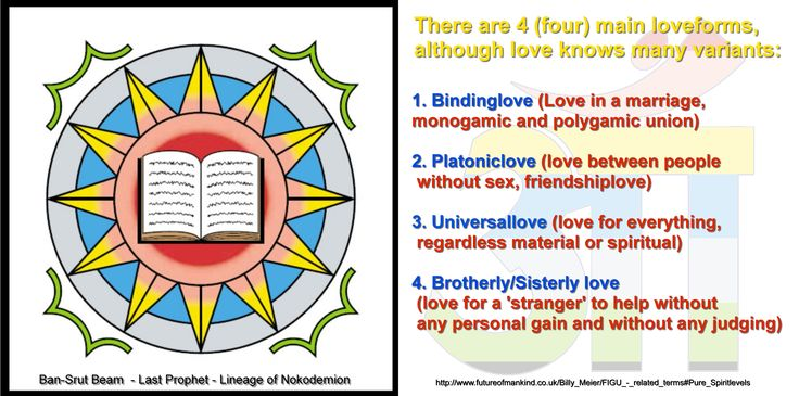 There are 4 (four) main loveforms, although love knows many variants:     1. Bindinglove (Love in a marriage, monogamic and polygamic union)   2. Platoniclove (love between people without sex, friendshiplove)   3. Universallove (love for everything, regardless material or spiritual)   4. Brotherly/Sisterly love (love for a 'stranger' to help without any personal gain and without any judging)   http://www.futureofmankind.co.uk/Billy_Meier/FIGU_-_related_terms#Pure_Spiritlevels