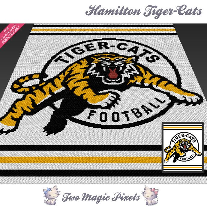 Hamilton Tiger-Cats crochet blanket pattern; cross stitch graph; pdf download; no written counts or row-by-row instructions by TwoMagicPixels, $5.69 USD