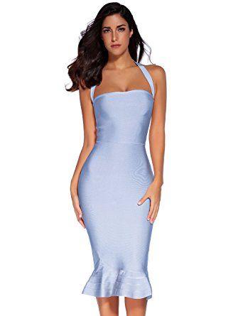 4e5824a9fec Amazon.com  Meilun Womens Rayon Halter Fishtail Bandage Party Dress   Clothing