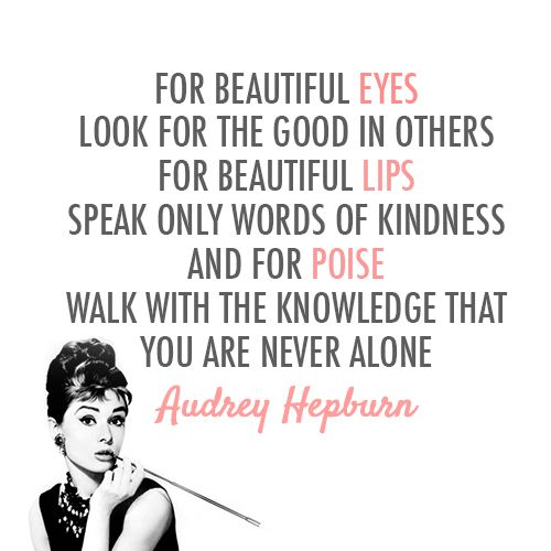 Audrey Hepburn Quote About Alone Beautiful Eyes Knowledge Lips