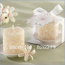 Favore di cerimonia nuziale regalo e omaggi-festa di nozze souvenir plumeria fiori-candela profumata con portacandele in ceramica 100 pz/lotto