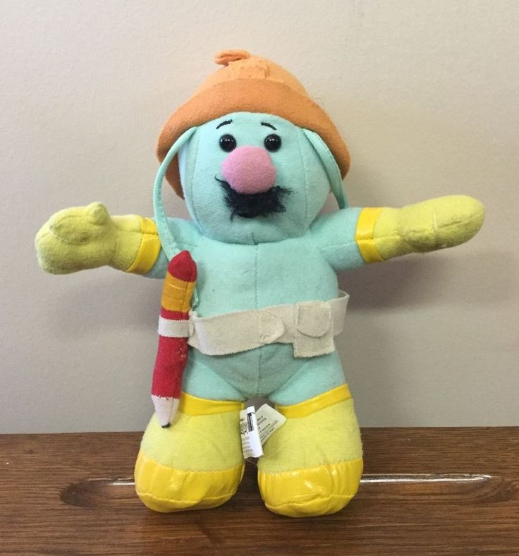 "Fraggle Rock Doozer 8"" Plush Doll Orange Hat Mustache Pencil Jim Henson Nanco  