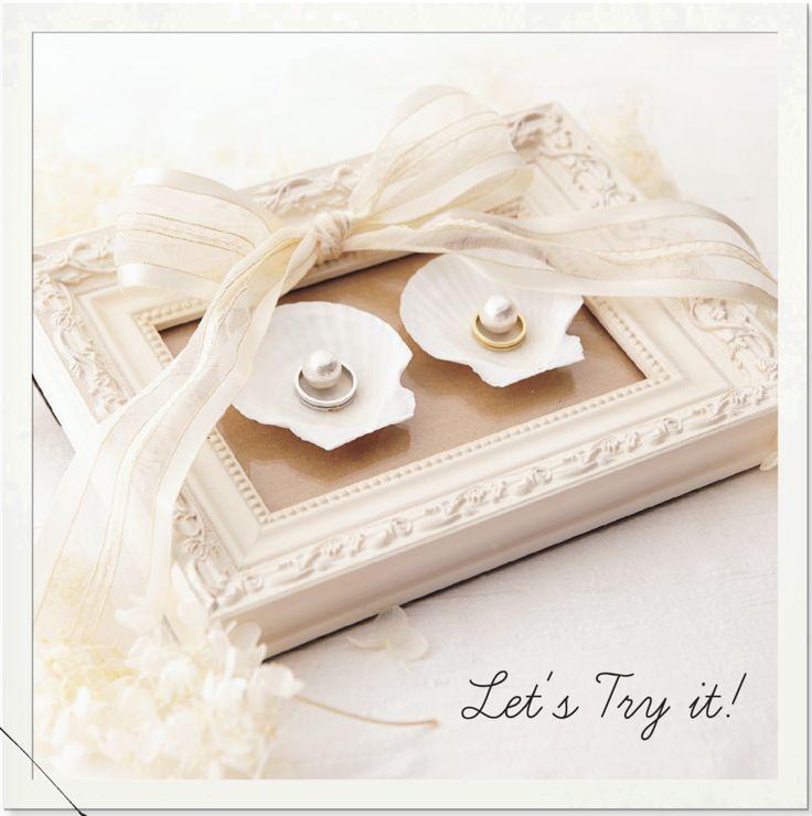 簡単に可愛く手作りできる♡結婚指輪を置く「シェル・ガラス」のリングピローの作り方*にて紹介している画像