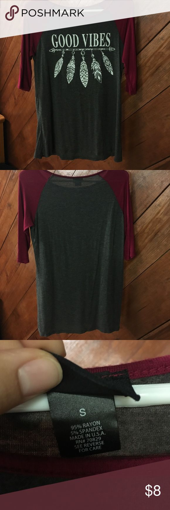 """Rue 21 3/4 sleeve Rue 21 3/4 sleve color blocked """"Good Vibes"""" shirt. size small. super soft and stretchy. Rue 21 Tops Tees - Long Sleeve"""