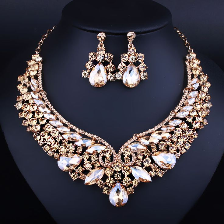Wedding Jewelry Gold Plated Crystal Necklace Earring For Women Fashion Indian Bridal Sets