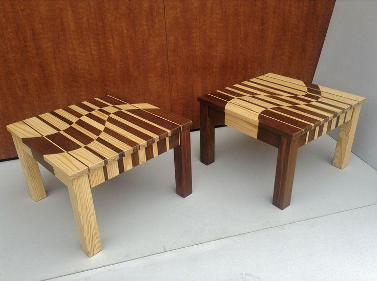2 salontafels gemaakt van Nobelwood en Yellow Pine