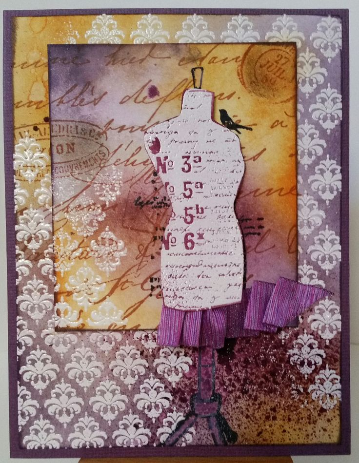 Dress Form CS884 by Kaisercraft; Old Letter CG197 by Hero Arts; Background pattern siset092 by Stamp-it. Card by Susan of Art Attic Studio