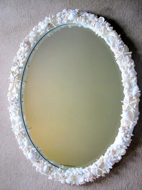 Beach Decor Shell Mirror - Nautical Seashell Mirror w Starfish, Sand Dollars & Pearls - White. $800.00, via Etsy.