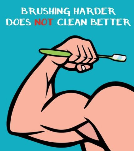 Brushing HARDER does not CLEAN BETTER! Remember to use a soft bristled brush and to use circular motions.