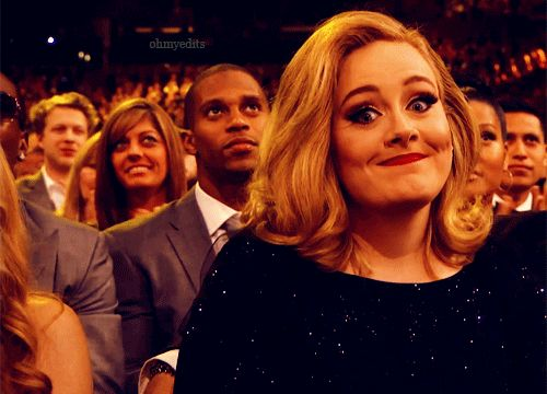 "Pin for Later: 24 Adele Reaction GIFs That Are Realer Than Real When You're at a Wedding and Someone Tells You, ""I Think You're Next!"""