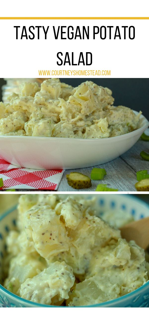 This is the BEST easy vegan potato salad recipe! This is perfect for a summer me…