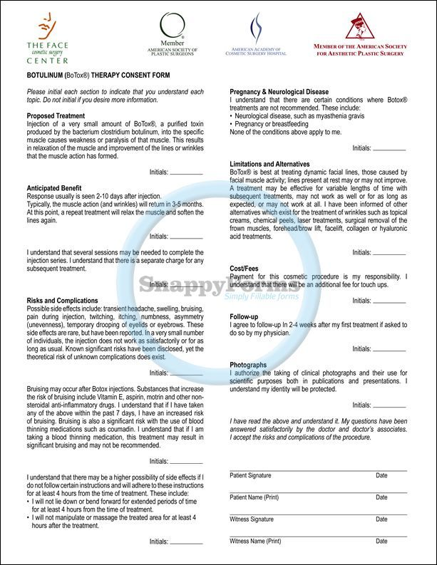 Botulinum (Botox) Therapy Consent Form | Medical Practice