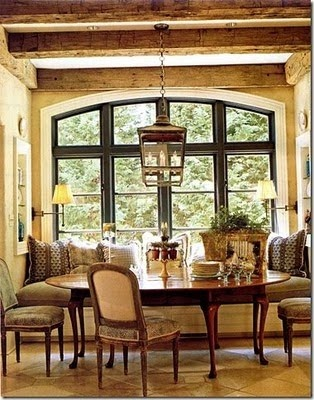 Great mix of window seat and formal tableDining Room, Exposed Beams, Expo Beams, Breakfast Nooks, Windows Seats, Traditional Home, Breakfast Area, Breakfast Room, Wood Beams