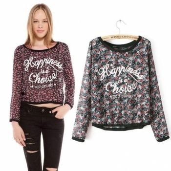 Womens Chiffon Long Sleeve Floral Pattern Casual Shirt Blouse Tops S-L