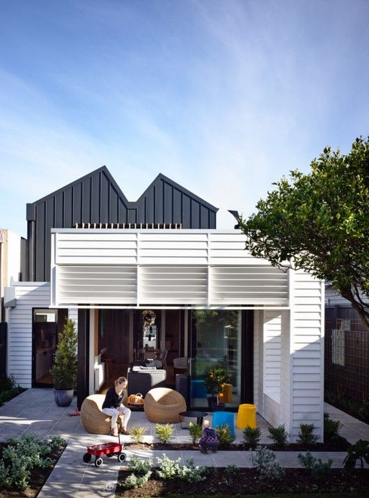 home extension | vertical profiled metal and horizontal white weatherboard/louvres