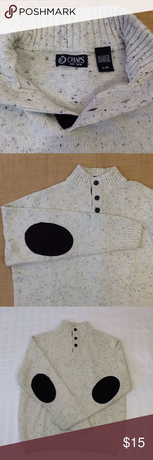 Chaps men's henley sweater Very good pre-owned condition. Cream and black heathered 61% cotton and 39% acrylic. Ribbed, standing collar and three button placket. Suede elbow patches. Chaps Sweaters Turtleneck