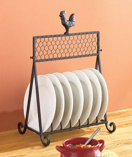 Metal Rooster Plate Rack/Holder Country Kitchen Decor Holds 7 Dinner Plates  New