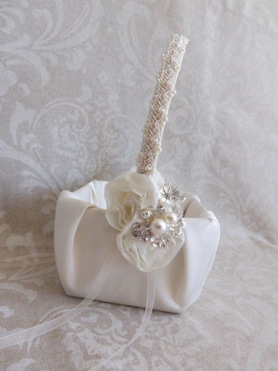 Ivory Shabby Chic Flower Girl Wedding Basket by creations4brides, $46.00