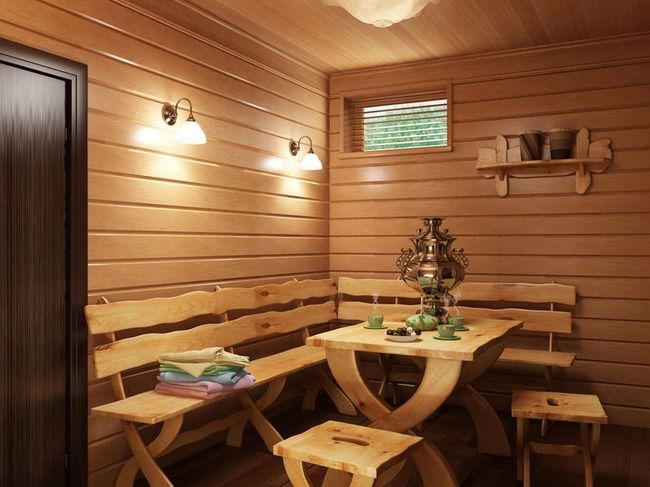 Комната отдыха в бане: создание интерьера, отделка - баня, комната отдыха, комната, отдых, отделка, интерьер, обстановка, предбанник, помещение, стены, м
