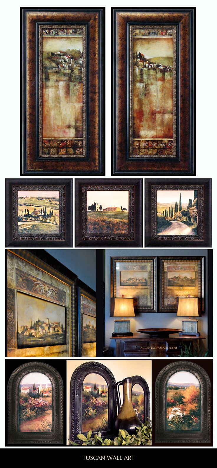Tuscan Landscapes - Beautifully Framed Tuscan Artwork is our specialty. We've been shipping Tuscan themed wall decor since 1996. Accents of Salado.