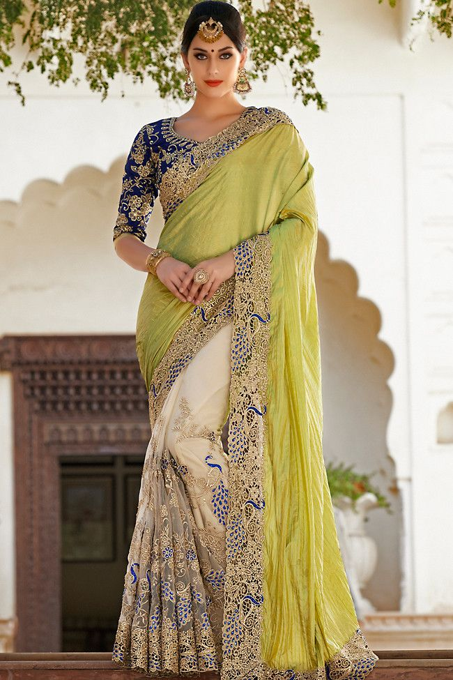 Blue White and Olive Green Net and Dhupian Silk Embroidered Saree