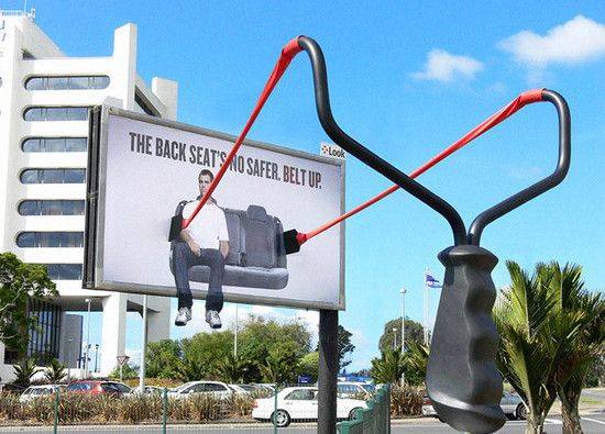 This ad shows that backseats are also no safer so one should always belt up with safety belts.