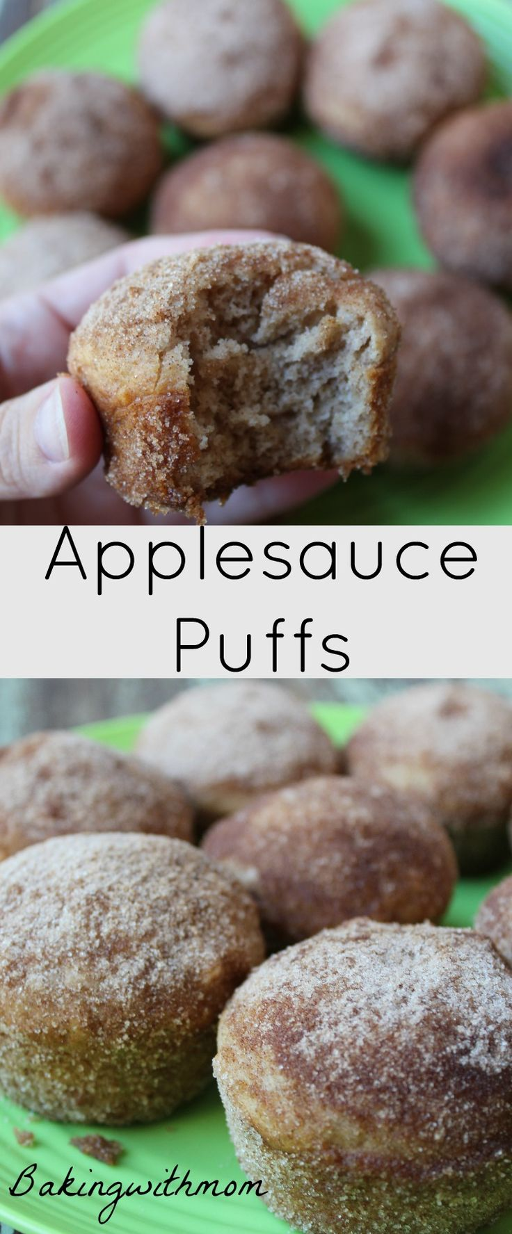 Applesauce puffs are great for breakfast, brunch or a snack. Easy prep and rolled in cinnamon sugar