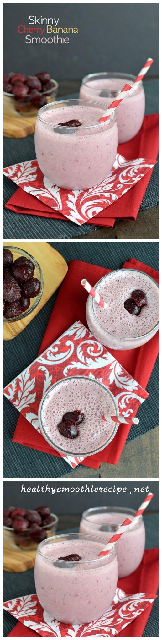 Skinny Cherry Banana #Smoothie #Recipe  1/2 cup frozen dark, sweet cherries 1 frozen banana 1/2 cup plain greek yogurt 1 cup skim milk 1 scoop vanilla protein powder