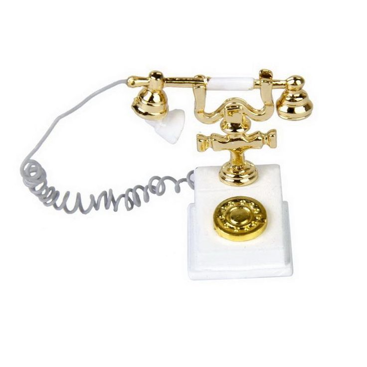 Miniature Retro Phone Vintage Telephone White and Gold