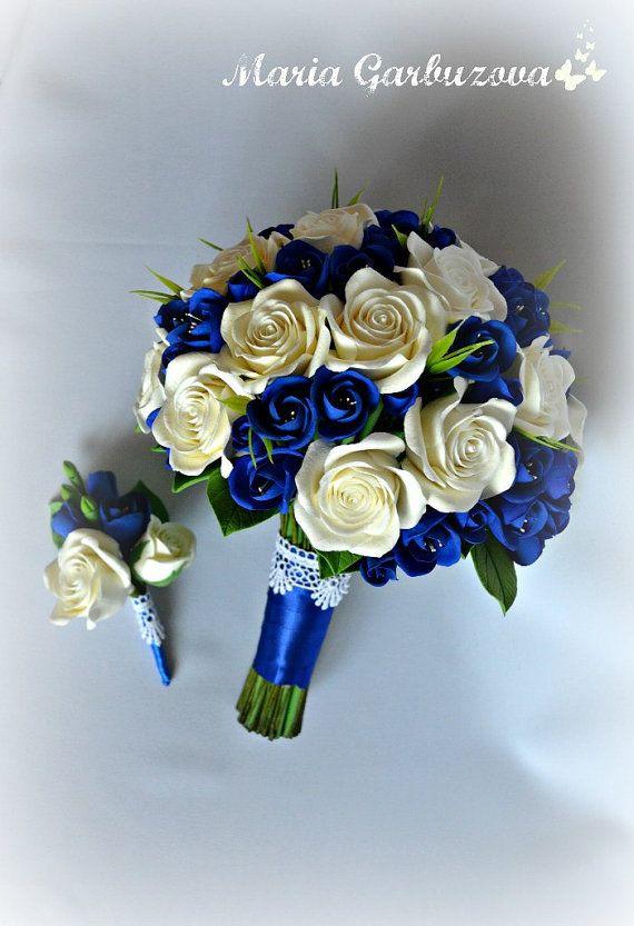 Bouquet da sposa blu fatto di argilla dell