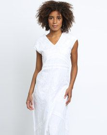 G Couture Maxi Dress With V Neck White