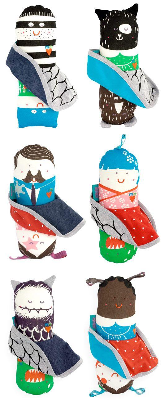 Muñecos reversibles, doble personaje - Miszkomaszko Handmade Flip Dolls