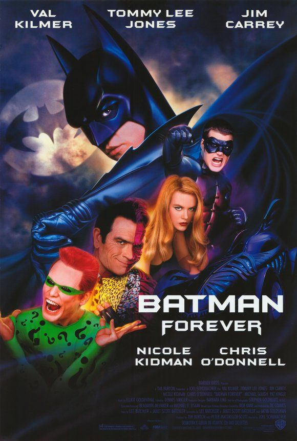 Batman Forever (1995) Joel Schumacher con Val Kilmer, Jim Carrey y Tommy Lee Jones, Chris O'Donnell.