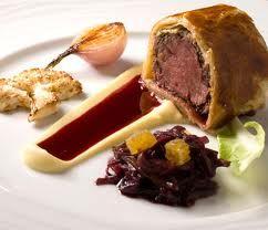 Beef Wellington, Potato Puree, Red Wine Jus, Roasted Cauliflower, Bruleed Spring Onion, Red Wine Braised Celeriac