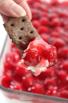 Cherry Cheesecake Dip - Just 4 Ingredients. Makes for a perfect appetizer. Serve them with graham crackers, Nilla wafers, or even pretzels.