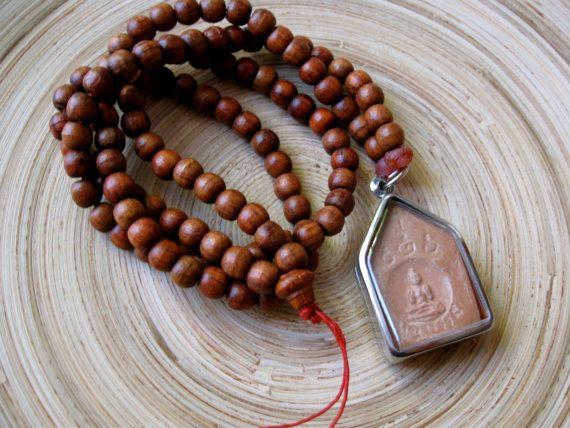 Long mala yoga necklace with 108 rosewood beads & Buddha amulet $36.00