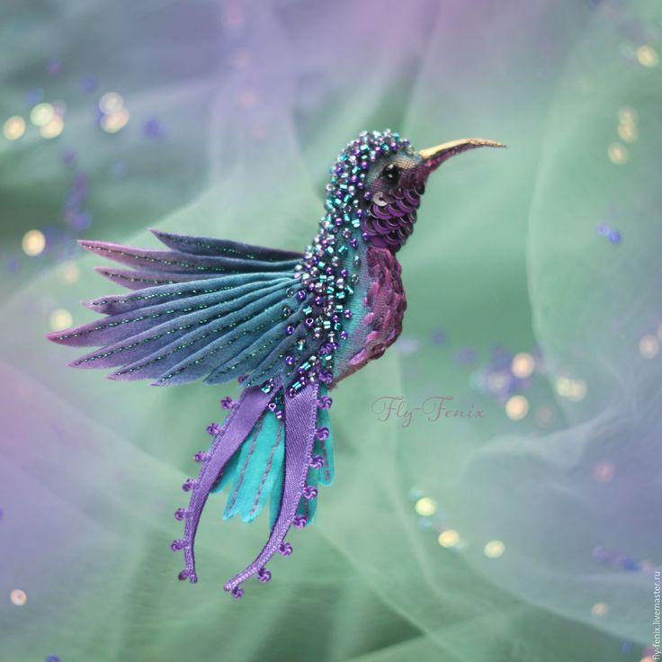 """Купить Колибри """"Сиреневые искры"""" - колибри, птица, птичка, пташка, миниатюра, маленькая брошь, на платье"""
