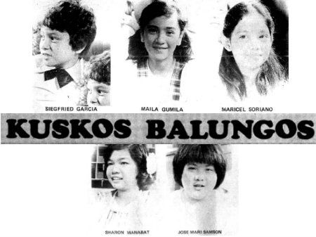 Another Johnny Manahan-directed TV show catering to the young audience, Kuskos Balungos taught important values such as cooperation, discipline, creativity, and nationalism. It was produced by Kitchie Benedicto and had in its team of talented writers Raffy Oyales, Doming Landicho, Rowie Morales, and Ed Morales.