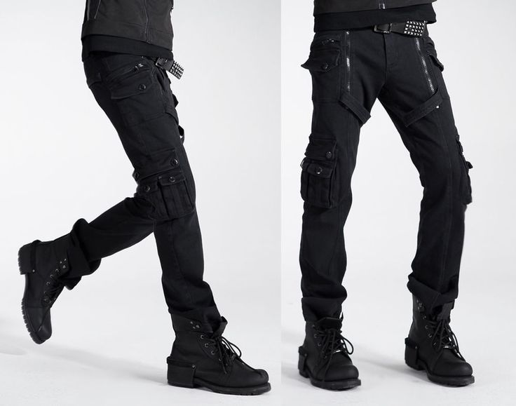 Gothic Punk Rave Hose Herren schwarz Baumwolle Visual Kei Rockabilly black pants