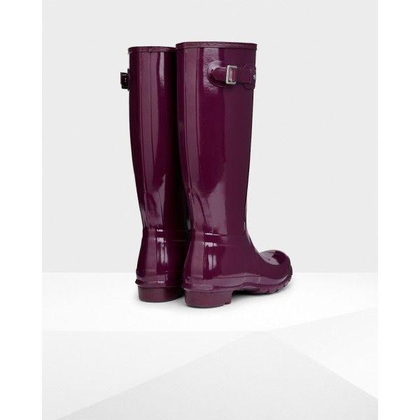 Hunter Women's Original Tall Gloss Wellington Boots Purple - Hunter Boots