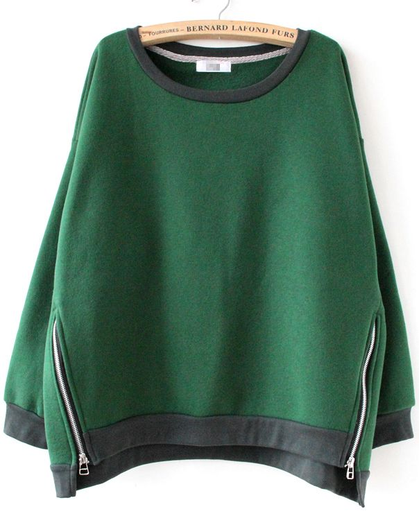 Green Long Sleeve Side Zipper Sweatshirt - Sheinside.com