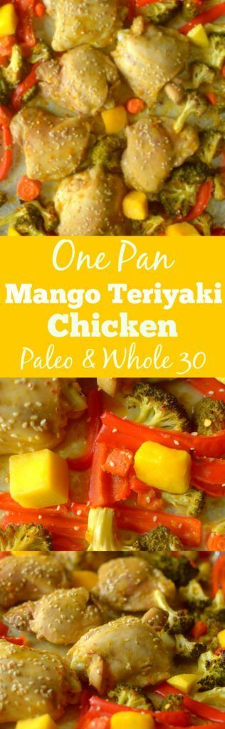 Dinner has never been easier or tastier than with this Mango Teriyaki Chicken & Veggies One Pan Dinner! You'd never guess it's Whole 30 and paleo friendly!