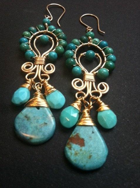 Perfect Turquoise Earrings by Bellaandemmajewelry on Etsy, $120.00