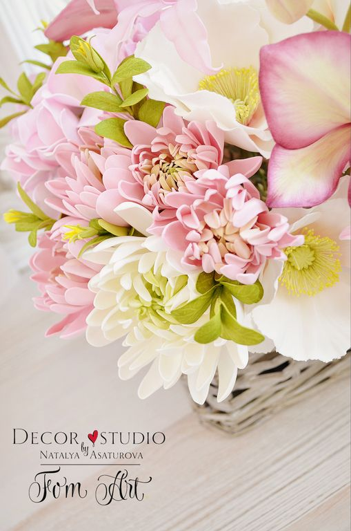 """Купить Букет """"Розовый зефир"""" с цветами из фоамирана - букет, букет в подарок, букет интерьерный"""